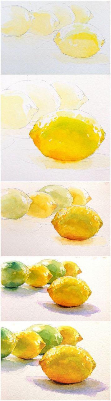 مراحل اجرای نقاشی آبرنگ از طبیعت بیجان ( از کل به جزء)